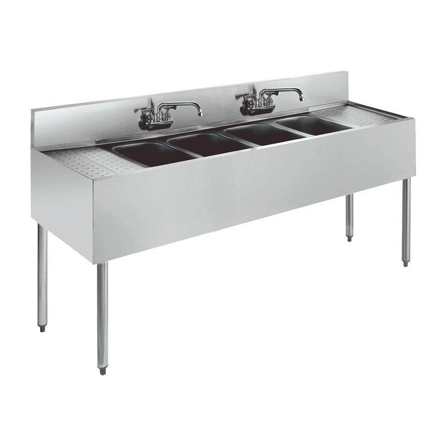Krowne Metal 21-84C Underbar 4-Compartment Sink Restaurant Supply
