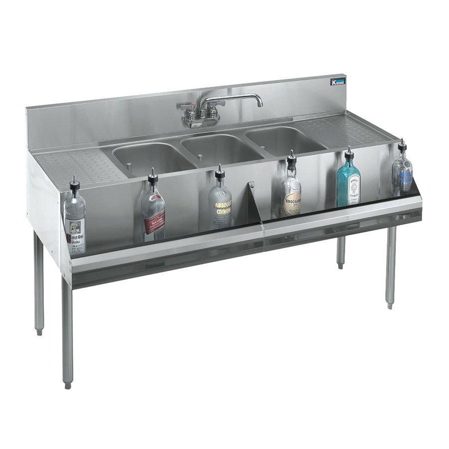 """Krowne KR18-73C 84"""" 3-Compartment Sink w/ 10""""W x 14""""L Bowl, 10"""" Deep"""