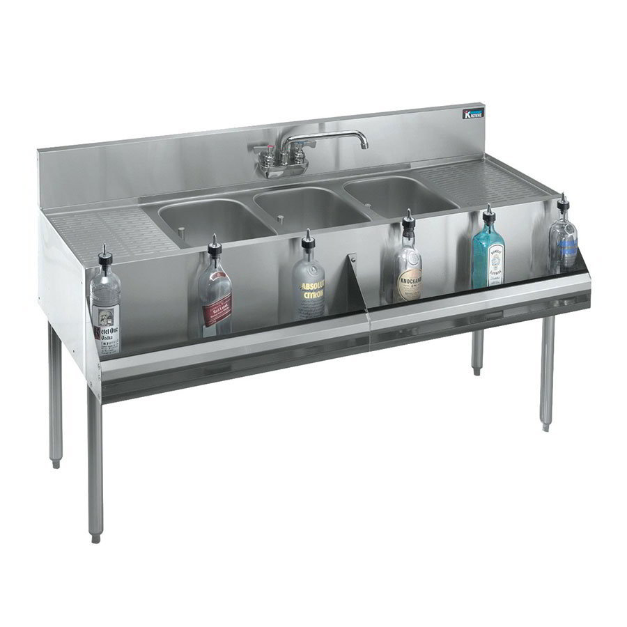"Krowne KR18-83C 96"" 3-Compartment Sink w/ 10""W x 14""L Bowl, 10"" Deep"