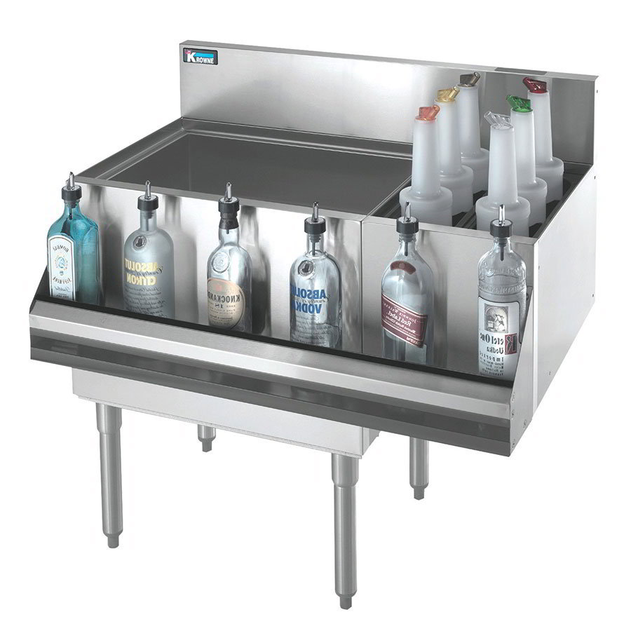 Krowne KR18-M36L-10 Left Ice Bin/Right Bottle Section - 80-lb Capacity, 36x19