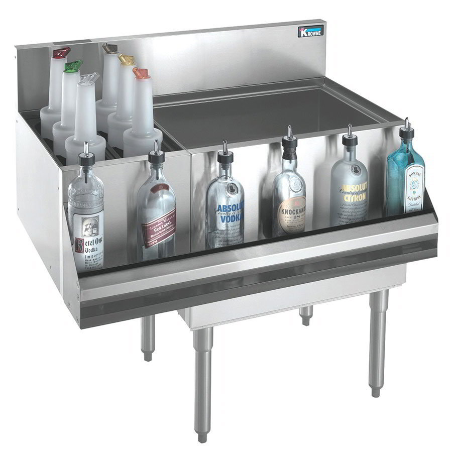 "Krowne KR18-M36R-10 Left Bottle Section/Right Ice Bin - 80-lb Capacity, 36x19"", Cold Plate"