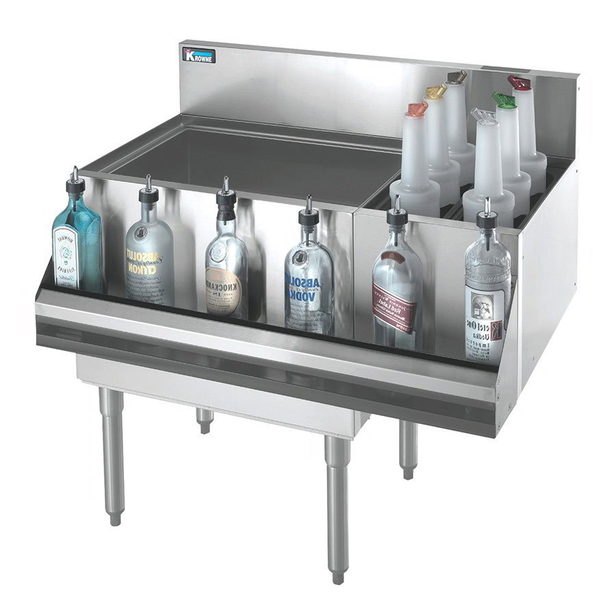 "Krowne KR18-M42L-10 Left Ice Bin/Right Bottle Section - 97-lb Capacity, 30x12"", Cold Plate"
