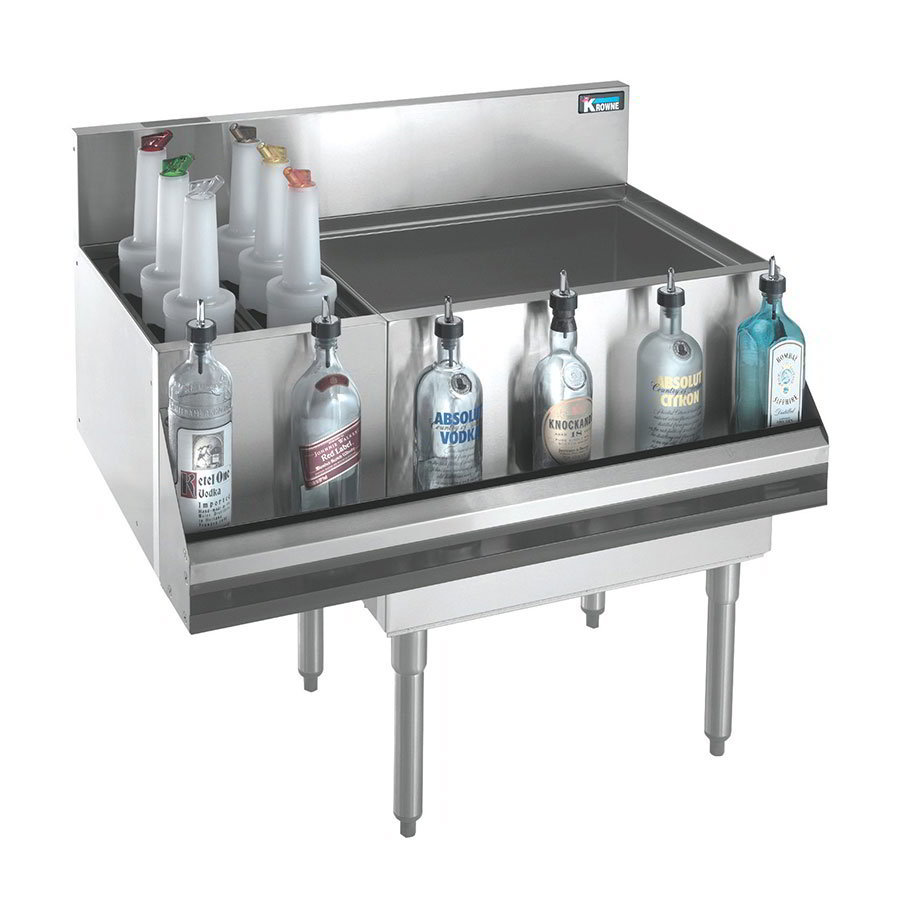 "Krowne KR18-M48C-10 Right & Left Bottle Section/Ice Bin - 80-lb Capacity, 48x19"", Cold Plate"