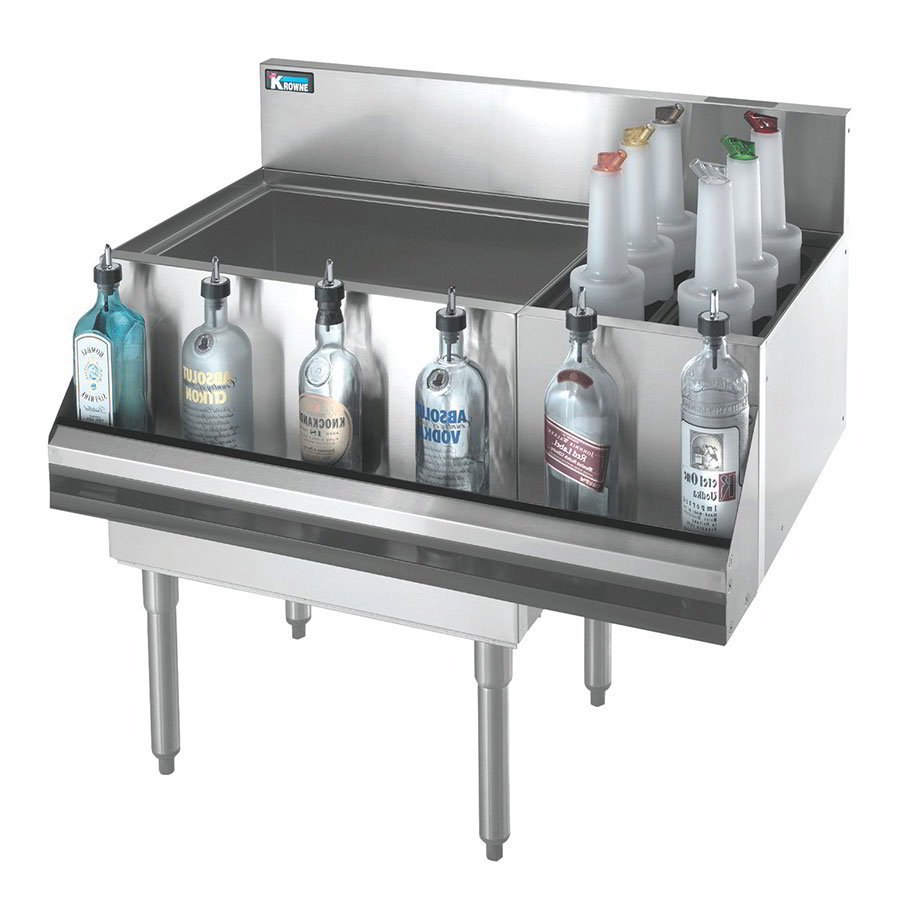 "Krowne KR18-M48L-10 Left Ice Bin/Right Bottle Section - 115-lb Capacity, 48x19"", Cold Plate"