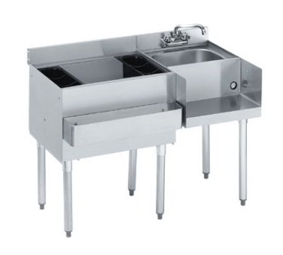 "Krowne 21-W66L-7 Left Blender/Cocktail/Right Drainboard Unit - 80-lb Ice Bin, 66x.25"", Cold Plate"