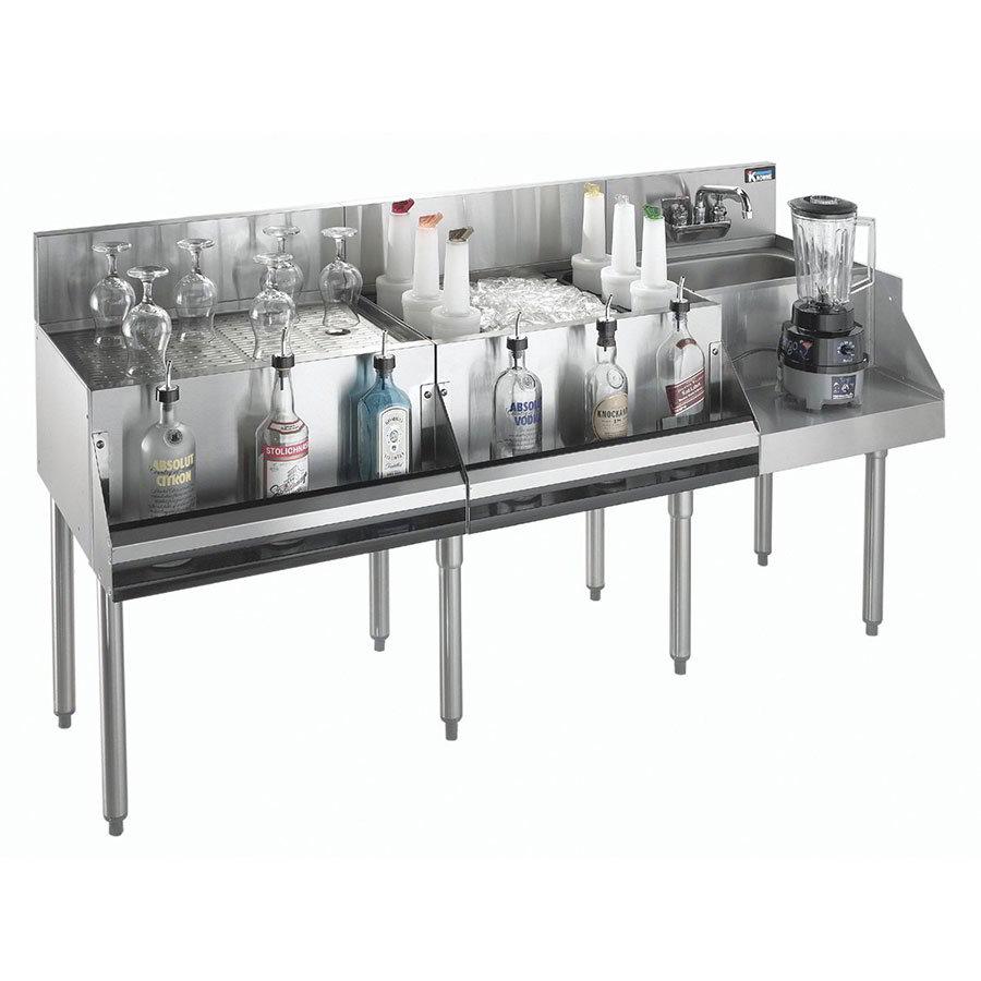 """Krowne KR18-W60A-10 Ice Bin/Blender Station w/ 24"""" Drainboard - 80-lb Ice Bin, Dump Sink, 60x24"""