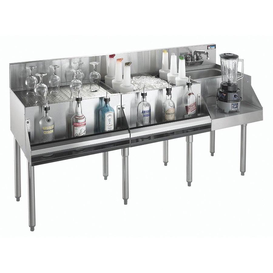 """Krowne KR18-W66A-10 Ice Bin/Blender Station w/ 24"""" Drainboard - 80-lb Ice Bin, Dump Sink, 66x24"""