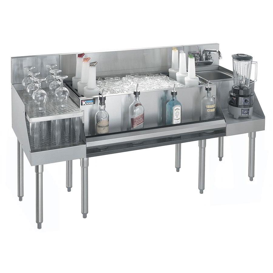 """Krowne KR18-W66B-10 Ice Bin/Blender Station w/ 18"""" Drainboard - 97-lb Ice Bin, Dump Sink, 66x24"""