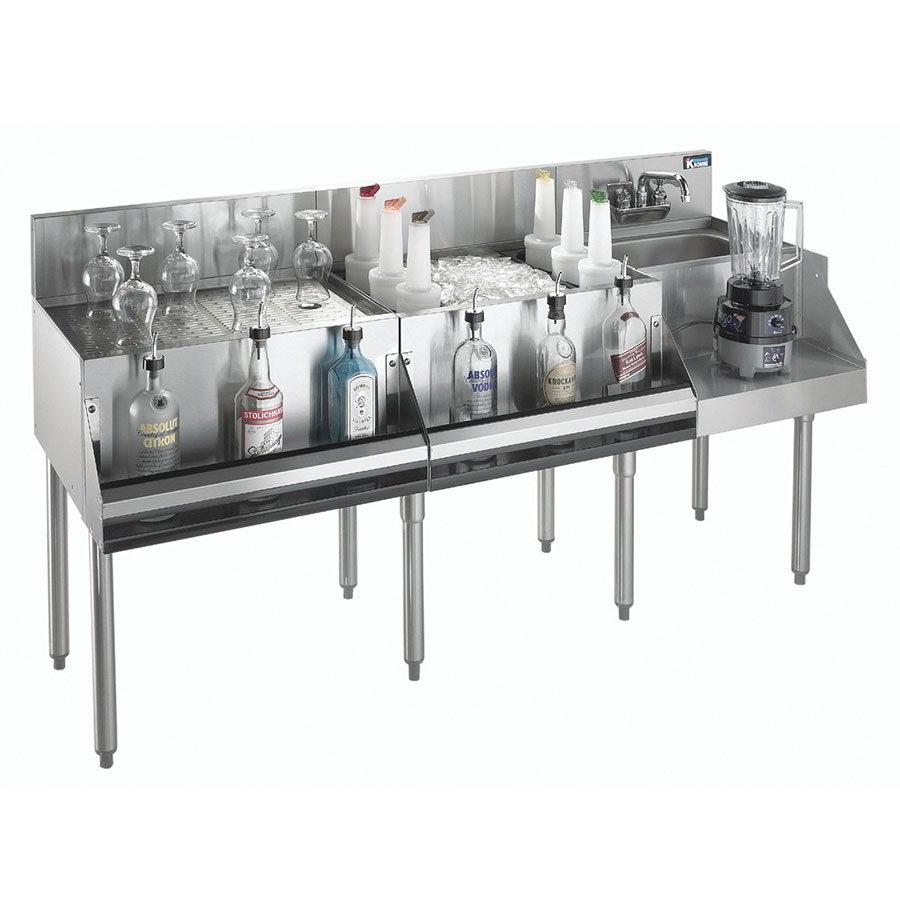 """Krowne KR18-W72A-10 Ice Bin/Blender Station w/ 24"""" Drainboard - 97-lb Ice Bin, Dump Sink, 72x24"""