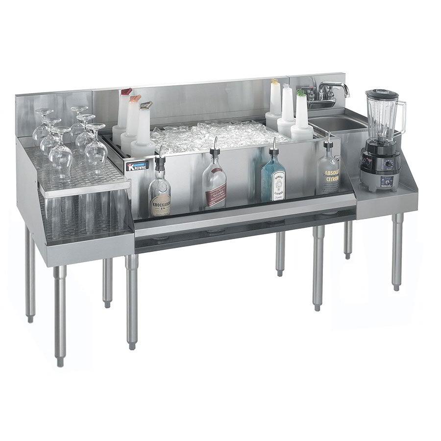 """Krowne KR18-W72B-10 Ice Bin/Blender Station w/ 18"""" Drainboard - 97-lb Ice Bin, Dump Sink, 72x24"""