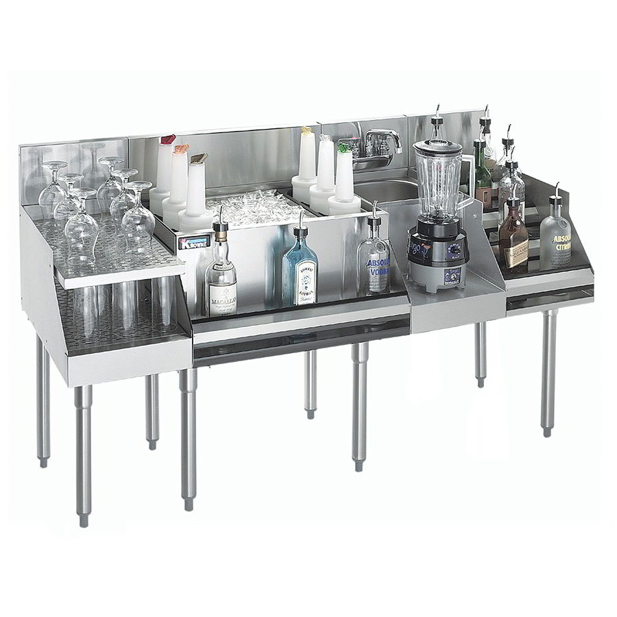 "Krowne KR18-W72C-10 Cocktail/Blender/Liquor Unit w/ 12"" Drainboard - 80-lb Ice Bin, Dump Sink, 72x24"