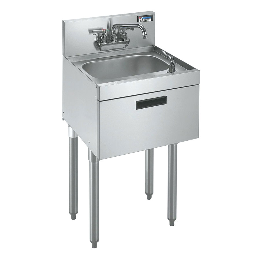 "Krowne KR21-18ST Under Bar Hand Sink - 10x14x7"" Bowl, Soap/Towel Dispenser, 18x21"