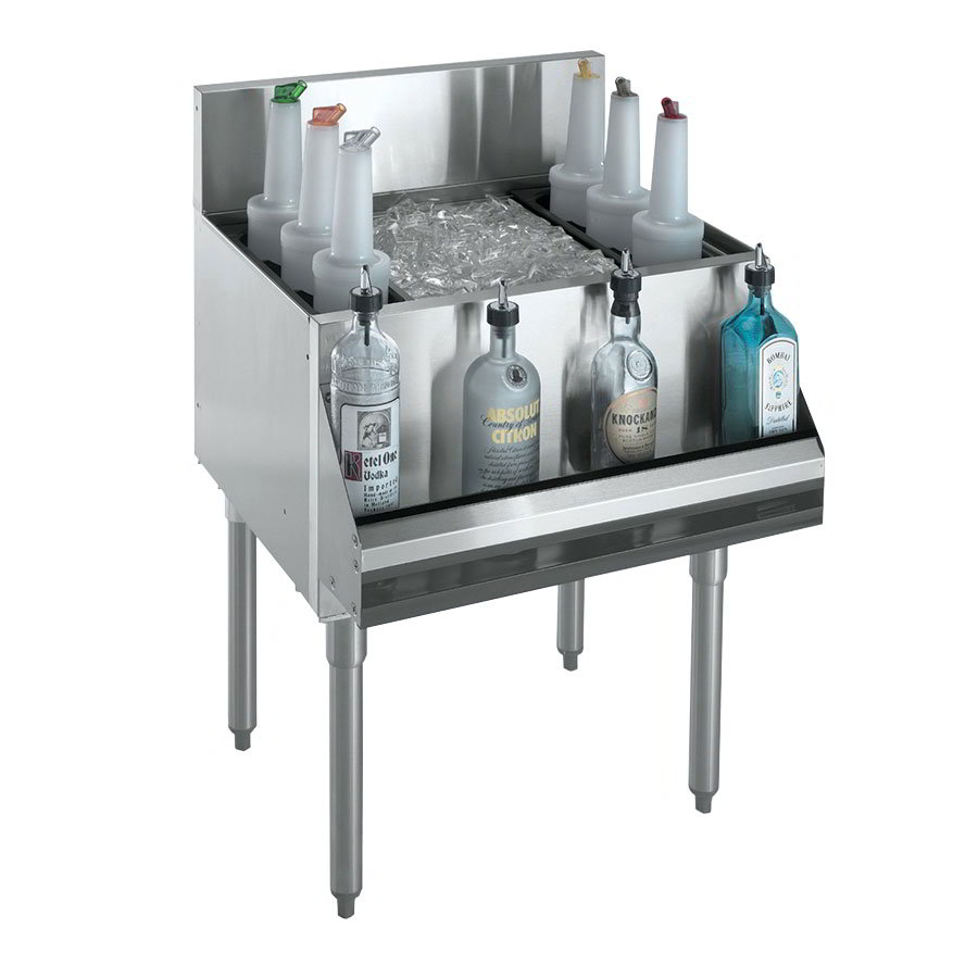 "Krowne KR21-24DP-10 Ice Bin - 100-lb Capacity, Bottle Racks, 7"" Back Splash, 24x21"", Cold Plate"