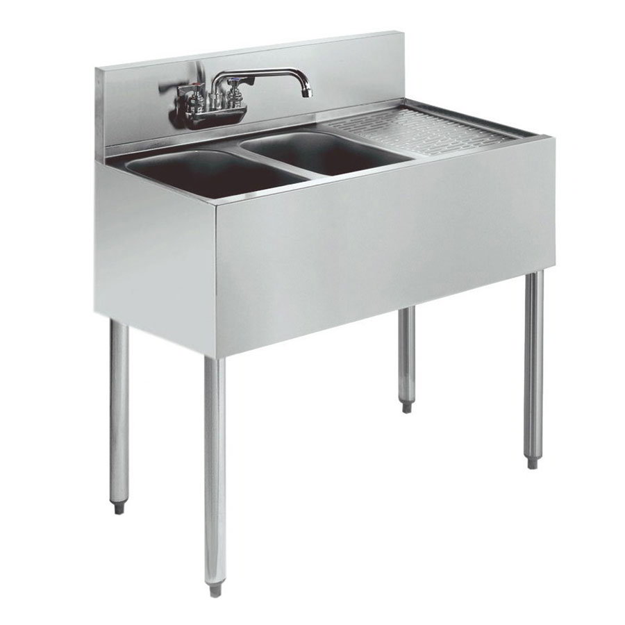 "Krowne KR21-32L 36"" 2-Compartment Sink w/ 10""W x 14""L Bowl, 10"" Deep"