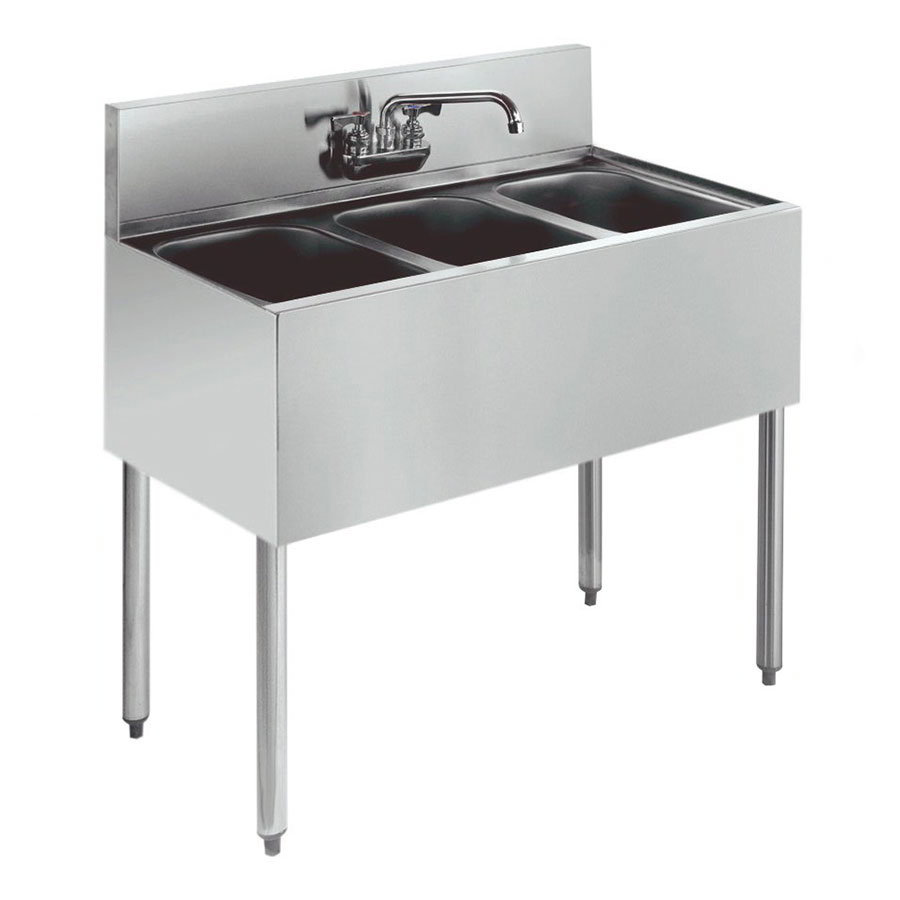 "Krowne KR21-33C 36"" 3-Compartment Sink w/ 10""W x 14""L Bowl, 10"" Deep"