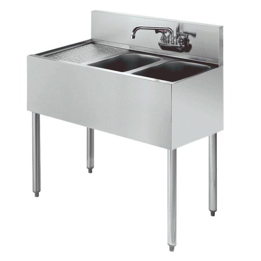 """Krowne KR21-42R 48"""" 2-Compartment Sink w/ 10""""W x 14""""L Bowl, 10"""" Deep"""