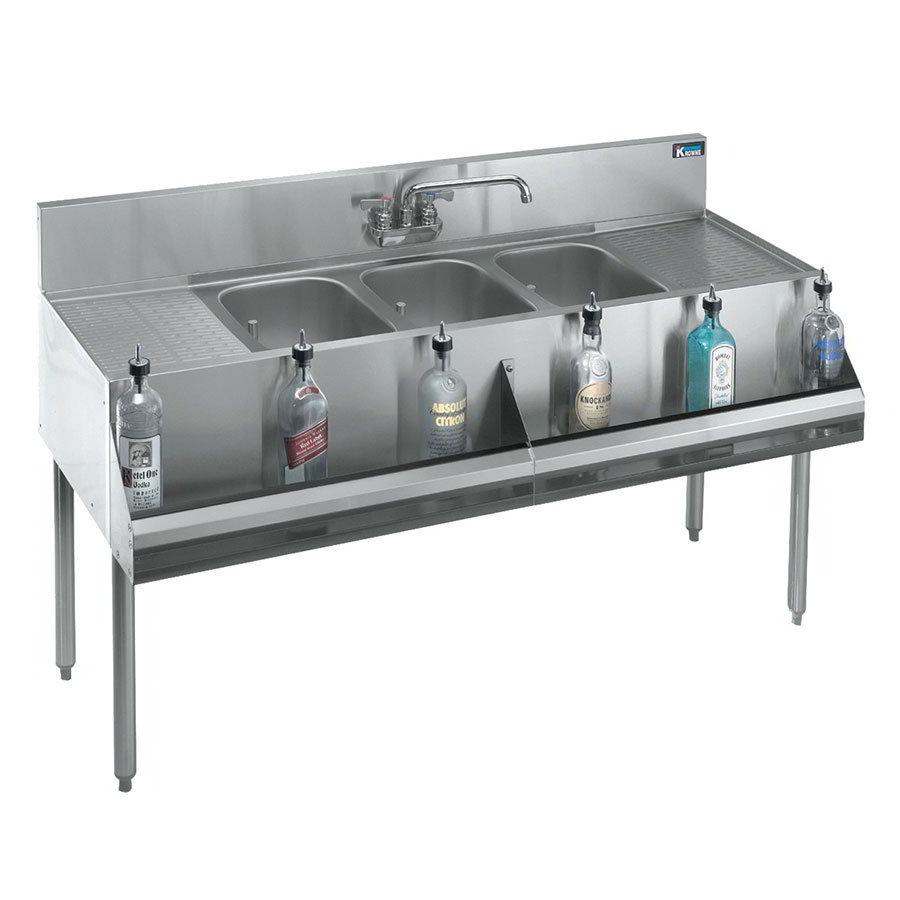 """Krowne KR21-63C 72"""" 3-Compartment Sink w/ 10""""W x 14""""L Bowl, 10"""" Deep"""