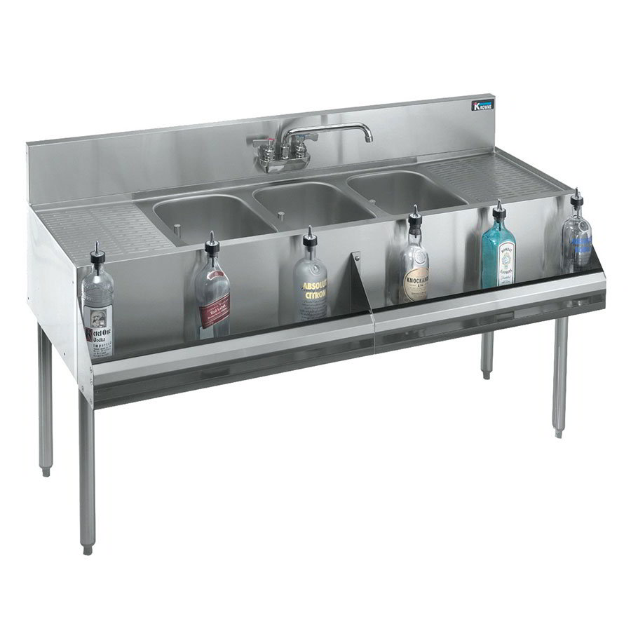 "Krowne KR21-73C 84"" 3-Compartment Sink w/ 10""W x 14""L Bowl, 10"" Deep"