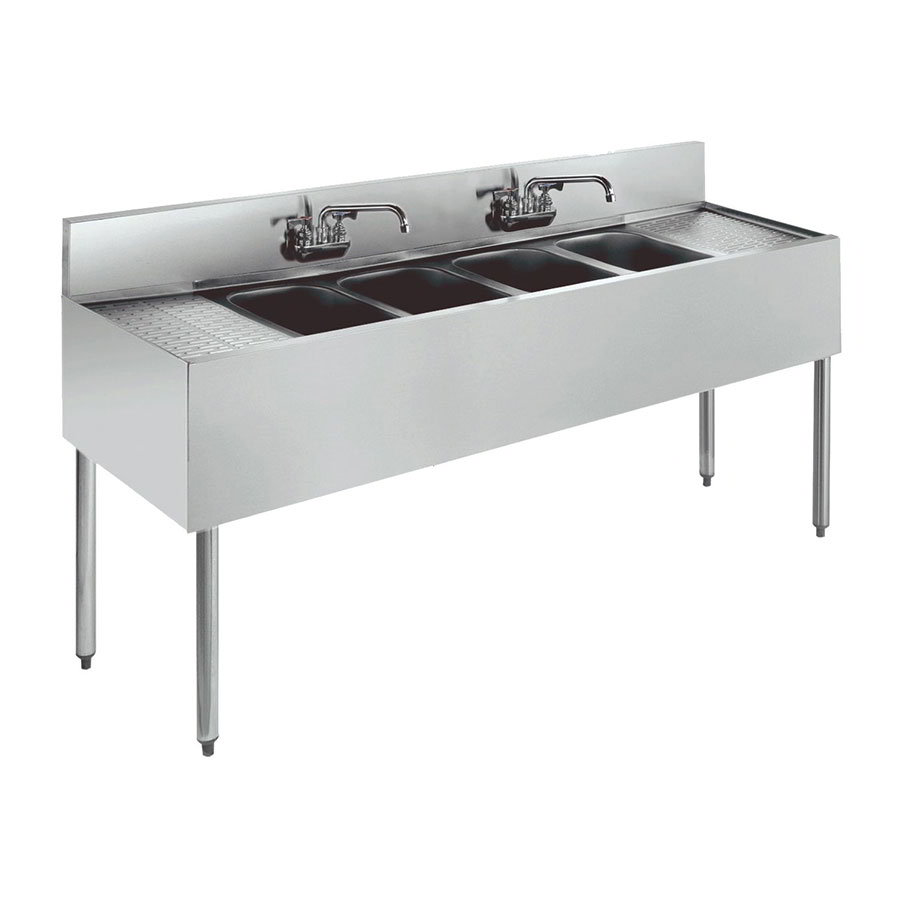 """Krowne KR21-84C 96"""" 4-Compartment Sink w/ 10""""W x 14""""L Bowl, 10"""" Deep"""