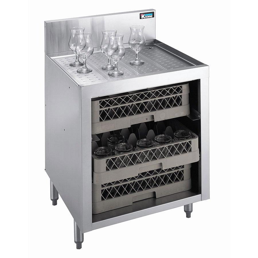 "Krowne KR21-GSB1 Under Bar Glass Storage - 3-Racks, 7"" Back Splash, 24x26"
