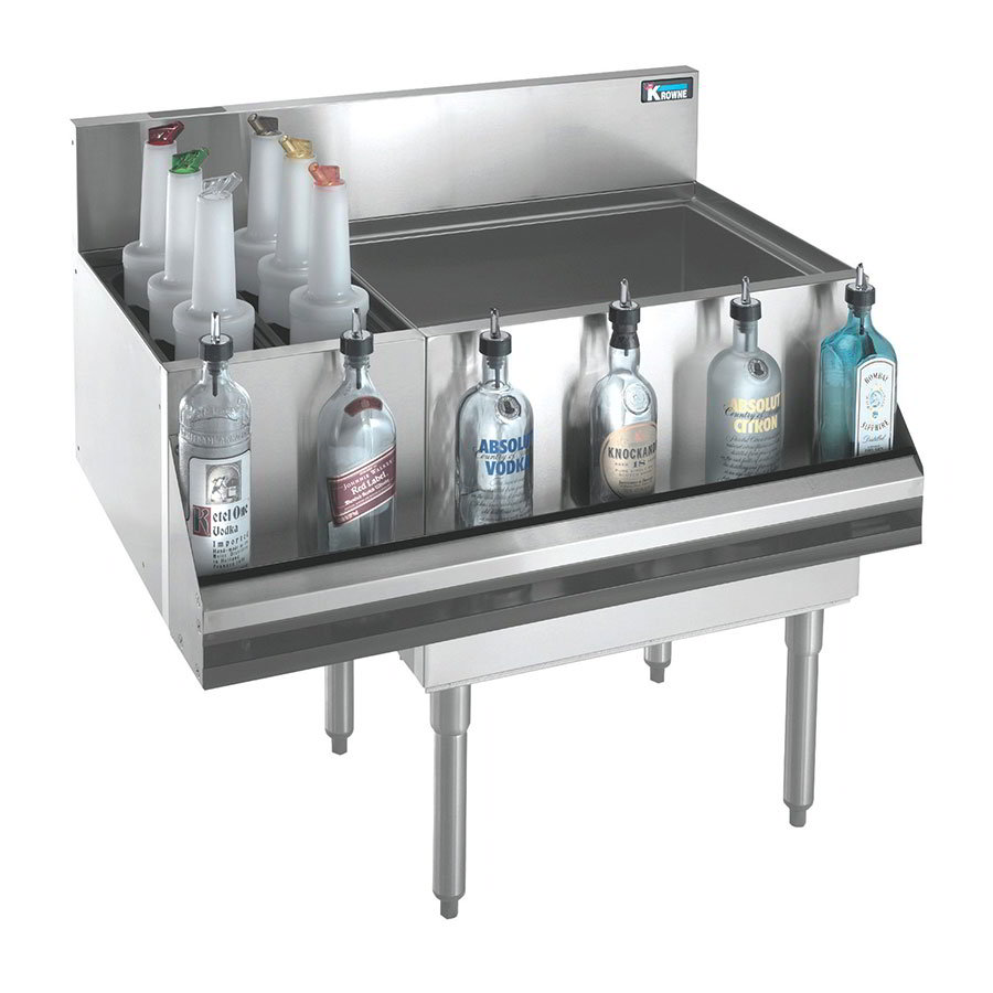 "Krowne KR21-M36R-10 Right Ice Bin/Left Bottle Section - 80-lb Capacity, 36x21"", Cold Plate"