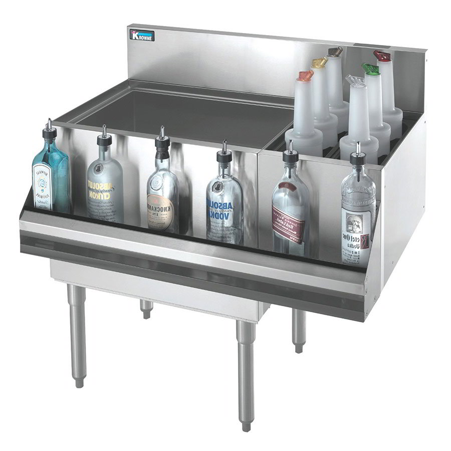 "Krowne KR21-M48L-10 Left Ice Bin/Right Bottle Section - 115-lb Capacity, 48x21"", Cold Plate"