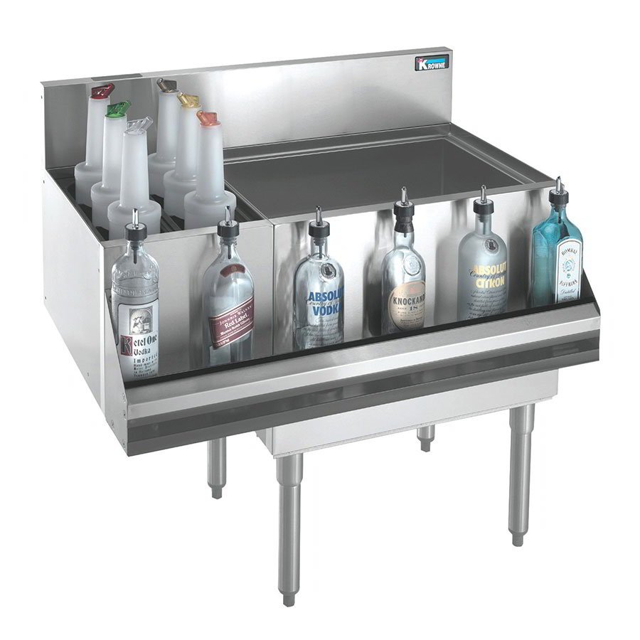 "Krowne KR21-M48R-10 Right Ice Bin/Left Bottle Section - 115-lb Capacity, 48x21"", Cold Plate"
