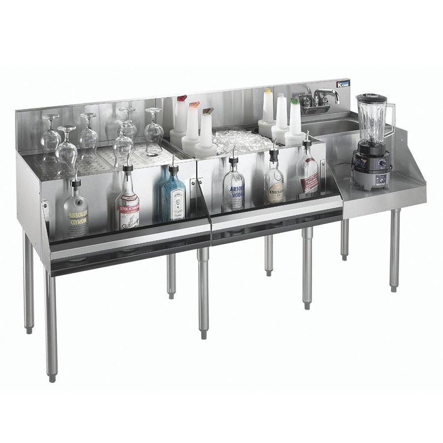 "Krowne KR21-W60A-10 Drainboard/Ice Bin/Blender Unit - 80-lb Capacity, Sink, 60x26"", Cold Plate"