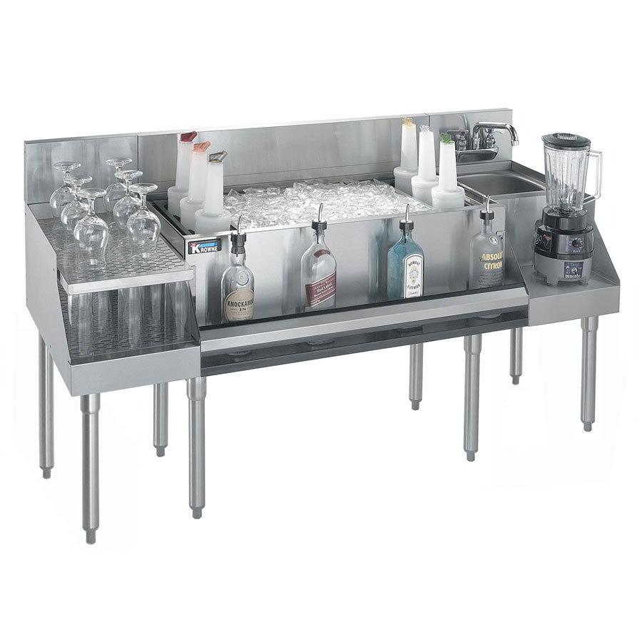 "Krowne KR21-W60B-10 Drainboard/Ice Bin/Blender Unit - 97-lb Capacity, Sink, 60x26"", Cold Plate"