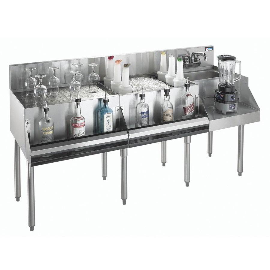 "Krowne KR21-W66A-10 Drainboard/Ice Bin/Blender Unit - 80-lb Capacity, Sink, 66x26"", Cold Plate"