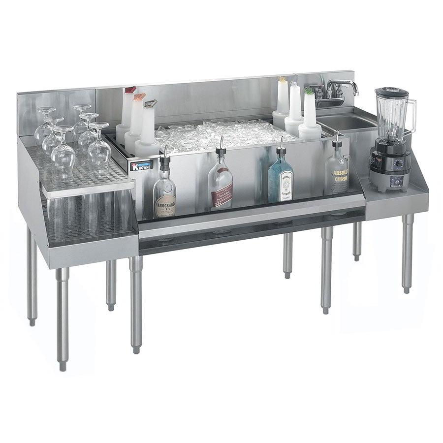 "Krowne KR21-W72B-10 Ice Bin/Blender Unit w/ 24"" Drainboard- 97-lb Capacity, Sink, 72x26"", Cold Plate"