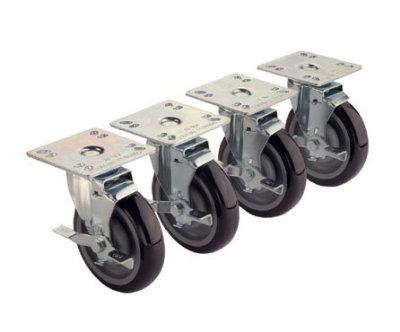 Krowne 28-107S 4-Piece Universal Plate Caster Set w/ 5-in Wheel, 4 x 4-in