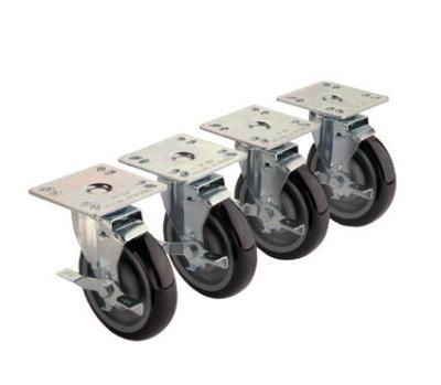 Krowne 28-111S 4-Piece Universal Plate Caster Set w/ 5-in Wheel, 3.5 x 3.5-in