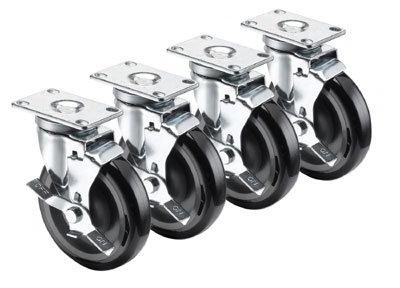 Krowne 28-113S 4-Piece Universal Plate Caster Set w/ 5-in Wheel, 2.38 x 3.63-in