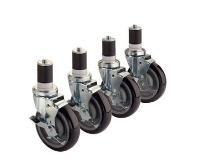 Krowne 28-129S Stem Caster Set For 1.63-in Tubing w/ 5-in Wheels