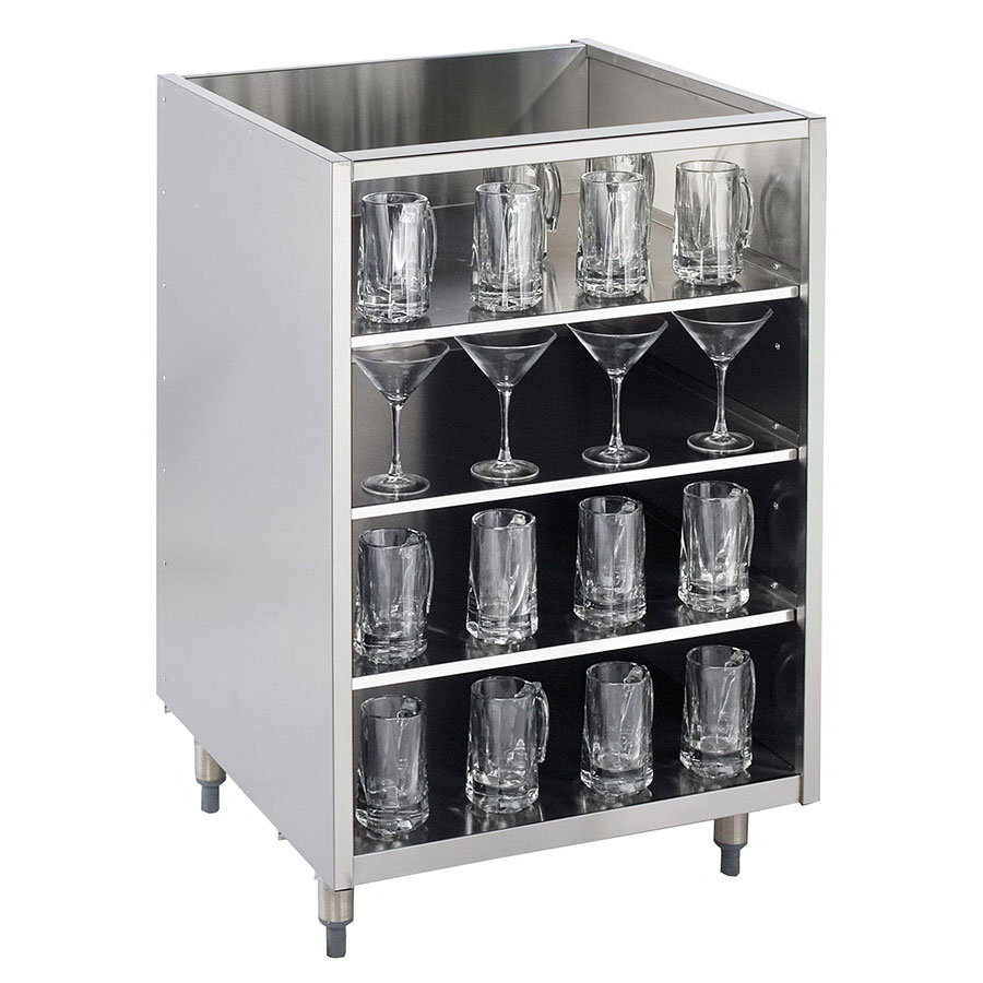 "Krowne KR-G18 18"" Backbar Glass Storage Cabinet w/ 3-Shelves, 24"" D"
