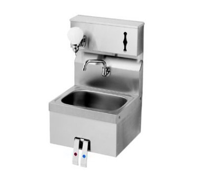 "Krowne HS-16 Wall Mount Hand Sink - 14x10x6"" Bowl, Knee Pedal, 16x15"