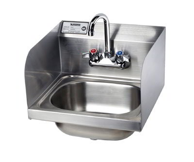 "Krowne HS-26L Wall Mount Hand Sink - 10x14x6"" Bowl, Splash Mount, P-Trap, 16x15"