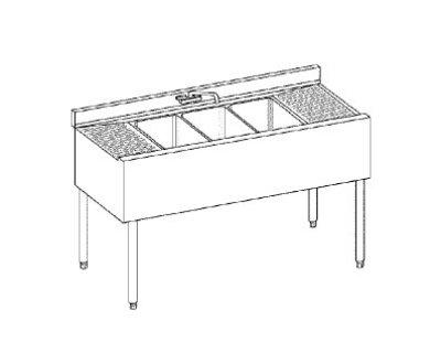 """Krowne 21-42L Under Bar Sink - (2) 10x14x9.75"""" Bowl, Faucet, Right Drainboard, 48x21"""