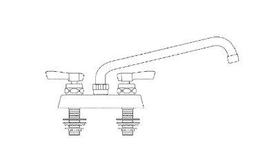 Krowne C-4C Heavy Duty Royal Deck Faucet w/ 4-in Centers & Gooseneck Restaurant Supply