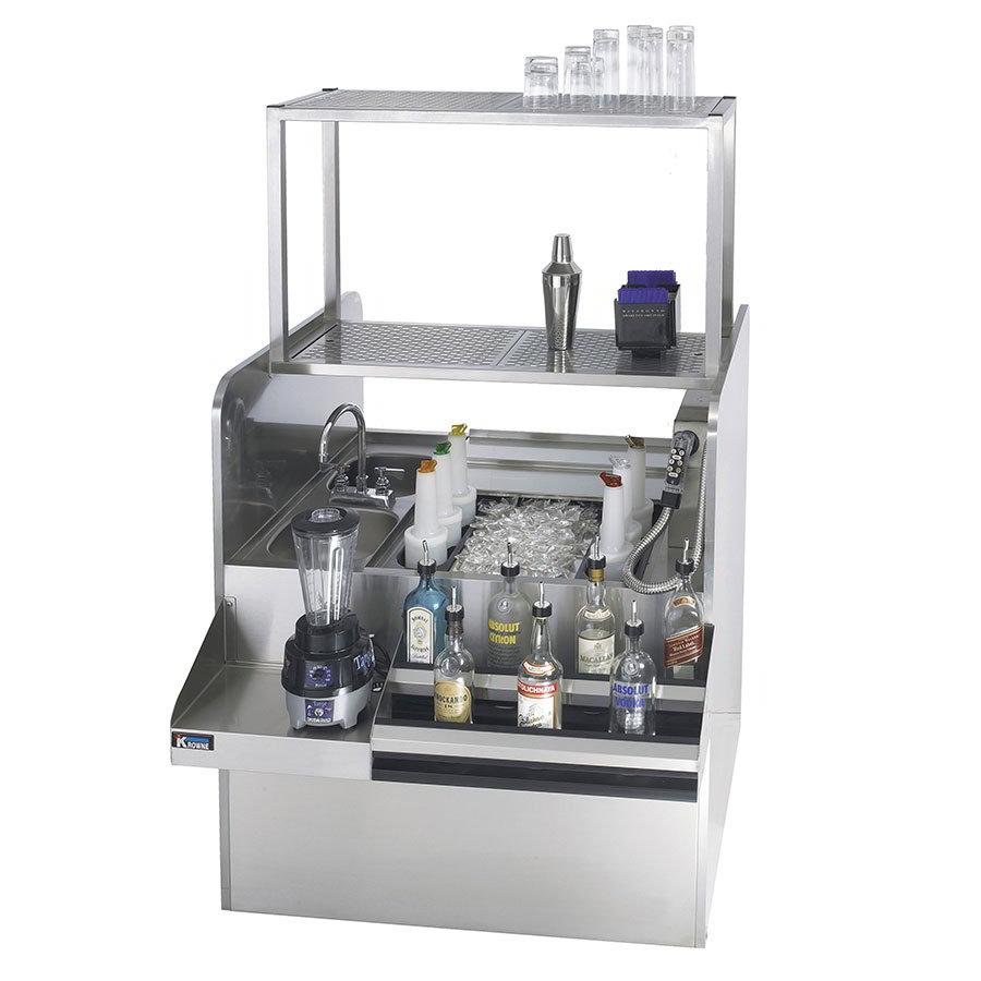 """Krowne KRPT-54BRP-10 Pass-Thru Workstation w/ Left Ice Bin, 2-Dump Sink on Right, 54 x 46"""""""