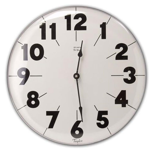 Taylor 161 Patio Clock w/ Silk Screen Graphics, 18.75-in, Brushed Silver