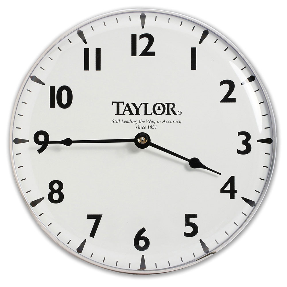 "Taylor 166 Patio Clock w/ Silk Screen Graphics, 12-15/16"", Brushed Silver"