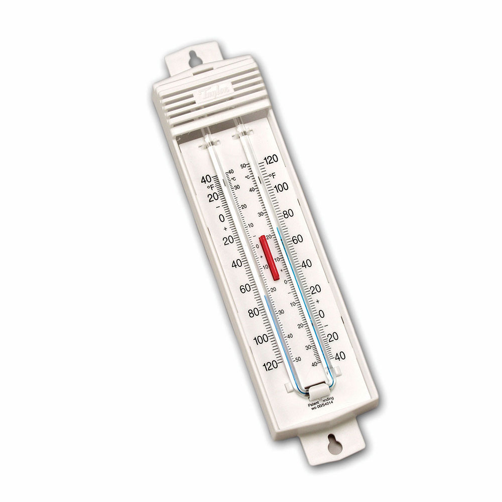 Taylor 5460 Permacolor-Filled Thermometer, Push-Button Reset, -40 to 120 F Degrees