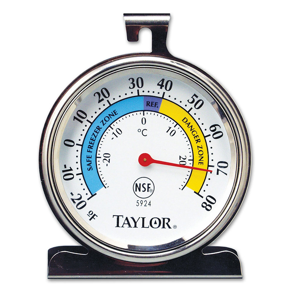 Taylor 5924 Refrigerator & Freezer Thermometer w/ 3.25-in Dial Face, Stainless
