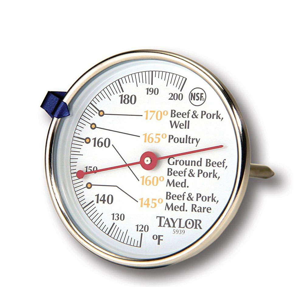 "Taylor 5939N Meat Thermometer w/ 2.75"" Dial Display, 120 to 200 F Degrees"
