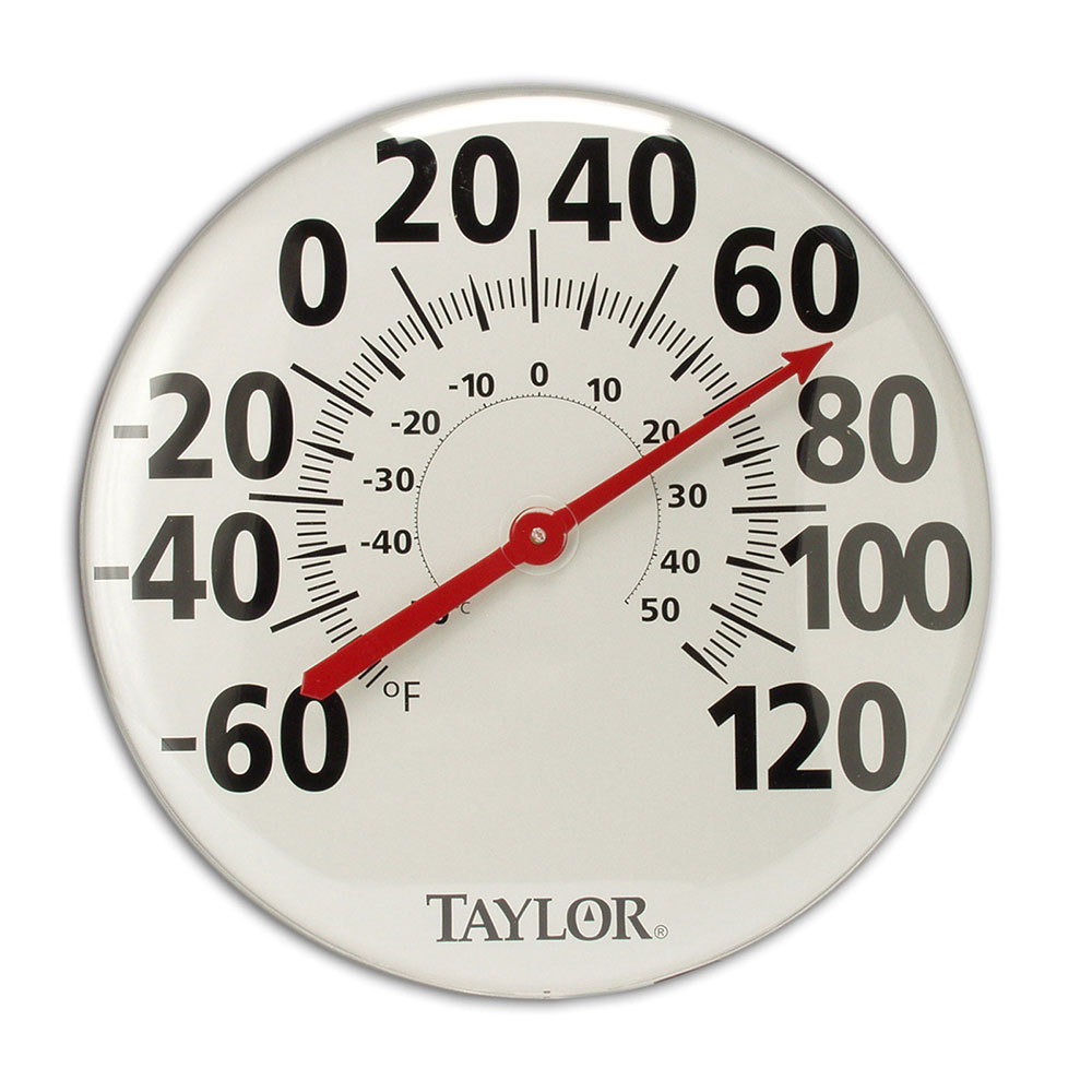 Taylor 681 Extra Large Thermometer w/ Bold Graphics, Brushed Silver Bezel