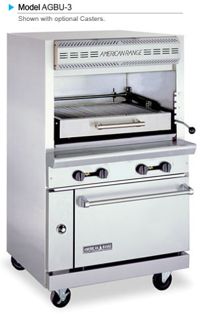 American Range AGBU-3 NG Infrared Broiler w/ 1-Deck & Oven Base, Stainless Exterior, 115000-BTU, NG