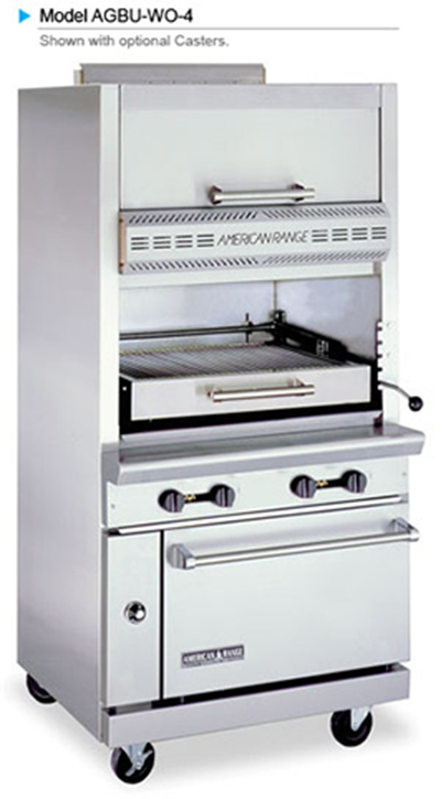 American Range AGBU-WO-4 NG Infrared Broiler w/ 1-Deck, Top Warming Oven, Stainless Exterior, 115000-BTU, NG