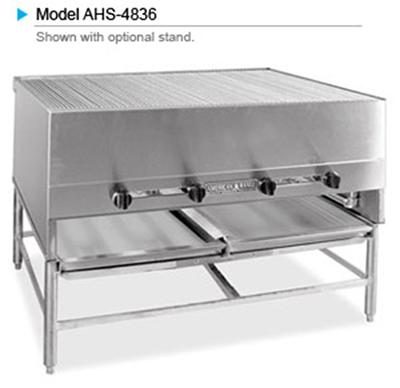"""American Range AHS-4827 NG 48"""" Horizontal Broiler w/ Round Rod Grates, Stainless Exterior, 160000-BTU, NG"""
